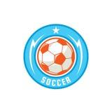 Progettazione del modello di logo del distintivo di calcio, squadra di calcio, illuatrat di vettore Fotografia Stock