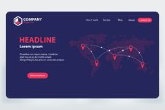 Progettazione del modello di vettore di tema della rete di comunicazione del mondo della pagina di atterraggio Immagini Stock Libere da Diritti