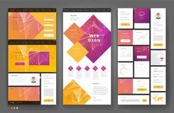 Progettazione del modello del sito Web con gli elementi dell'interfaccia Fotografia Stock Libera da Diritti