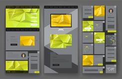 Progettazione del modello del sito Web con gli elementi dell'interfaccia Fotografie Stock