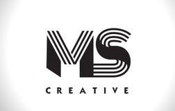 Progettazione del ms Logo Letter With Black Lines Linea vettore Illus della lettera Fotografie Stock