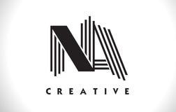 Progettazione del Na Logo Letter With Black Lines Linea vettore Illus della lettera Immagini Stock
