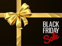 Progettazione del nastro dell'arco del regalo di vendita di Black Friday Immagine Stock Libera da Diritti
