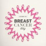 Progettazione del nastro di rosa di giorno del cancro al seno per supporto Fotografie Stock Libere da Diritti