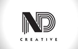 Progettazione del ND Logo Letter With Black Lines Linea vettore Illus della lettera Fotografia Stock Libera da Diritti