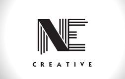 Progettazione del Ne Logo Letter With Black Lines Linea vettore Illus della lettera Immagini Stock