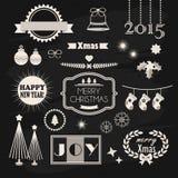 Progettazione del nuovo anno e di Natale ed insieme di elementi della decorazione Fotografia Stock