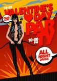 Progettazione del partito di giorno del ` s del biglietto di S. Valentino, stile di Pop art. illustrazione vettoriale