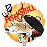 Progettazione del pesce della griglia per il barbecue illustrazione vettoriale