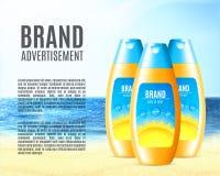 Progettazione del prodotto del cosmetico di protezione del sole Immagine Stock