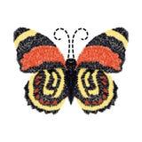 Progettazione del ricamo della farfalla per abbigliamento vettore di insetto isolato Fotografia Stock