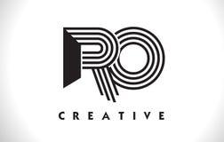 Progettazione del RO Logo Letter With Black Lines Linea vettore Illus della lettera Immagini Stock