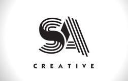 Progettazione del SA Logo Letter With Black Lines Linea vettore Illus della lettera Fotografia Stock Libera da Diritti