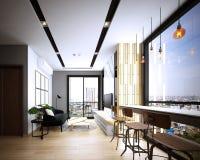 Progettazione del salone, interno di stile accogliente moderno, illustrazione vettoriale