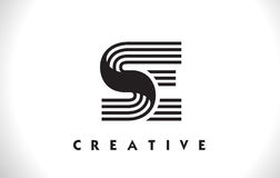 Progettazione del Se Logo Letter With Black Lines Linea vettore Illus della lettera Fotografie Stock
