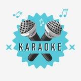 Progettazione del segno dell'etichetta di karaoke con le illustrazioni del microfono Fotografie Stock
