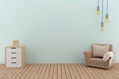 Progettazione del sofà nella stanza vuota con la lampadina nell'illustrazione 3D Fotografie Stock Libere da Diritti