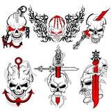 Progettazione del tatuaggio del cranio Fotografia Stock Libera da Diritti