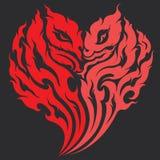 Progettazione del tatuaggio del cuore del drago Fotografia Stock