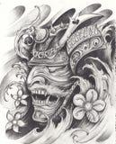 Progettazione del tatuaggio del guerriero del samurai royalty illustrazione gratis