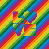 Progettazione del testo barrata amore dell'arcobaleno Fotografie Stock Libere da Diritti
