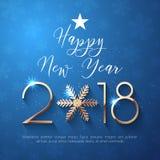 Progettazione del testo del buon anno 2018 Fotografia Stock Libera da Diritti