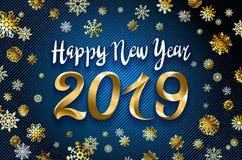 Progettazione del testo del buon anno 2019 dell'oro di vettore illustrazione di saluto con i numeri ed il fondo dorati del blu de royalty illustrazione gratis