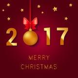 Progettazione del testo del buon anno 2017 L'illustrazione di saluto di vettore con le palle di Natale si piega e stelle Immagine Stock
