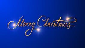 Progettazione del testo dell'oro del Buon Natale sul fondo blu di colore Immagine Stock