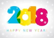 Progettazione del testo della carta del buon anno 2018 illustrazione di stock