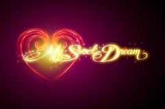 Progettazione del testo per Valentine Card Immagini Stock