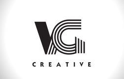 Progettazione del VG Logo Letter With Black Lines Linea vettore Illus della lettera Immagine Stock Libera da Diritti