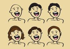 Progettazione dell'acconciatura per la gente felice del fumetto Immagine Stock Libera da Diritti
