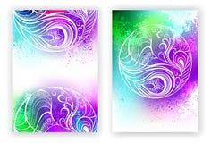 Progettazione dell'acquerello con la piuma astratta Fotografia Stock