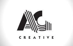 Progettazione dell'AG Logo Letter With Black Lines Linea vettore Illus della lettera Fotografia Stock Libera da Diritti