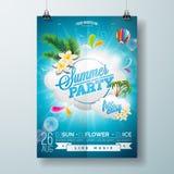 Progettazione dell'aletta di filatoio del partito della spiaggia di estate di vettore con progettazione tipografica sul fondo del Fotografia Stock Libera da Diritti