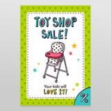 Progettazione dell'aletta di filatoio di vendita di vettore del negozio del giocattolo con l'alta sedia di alimentazione del bamb Fotografia Stock