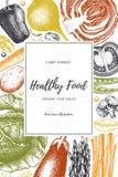Progettazione dell'alimento di Eco con lo schizzo disegnato a mano delle verdure Struttura dei prodotti biologici Modello di vett royalty illustrazione gratis