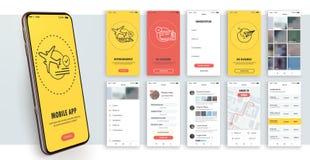 Progettazione dell'applicazione mobile, UI, UX Un insieme degli schermi del GUI con l'input di parola d'ordine e di connessione illustrazione di stock