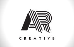 Progettazione dell'AR Logo Letter With Black Lines Linea vettore Illus della lettera Fotografie Stock Libere da Diritti