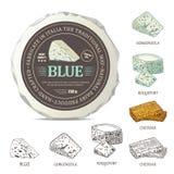 Progettazione dell'autoadesivo del formaggio blu sull'involucro del modello Etichetta di vettore con le cagliate del profilo mess illustrazione vettoriale