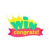 Progettazione dell'autoadesivo di congratulazioni di vittoria con le lettere verdi e modello rosso del nastro per il finale di co Fotografia Stock