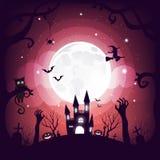 Progettazione dell'elemento di Halloween sul fondo della luna piena con lo spazio della copia, concetto di scherzetto o dolcetto, Immagini Stock Libere da Diritti