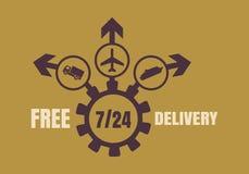 Progettazione dell'emblema di consegna gratuita Immagini Stock