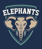 Progettazione dell'emblema di sport della mascotte dell'elefante illustrazione di stock