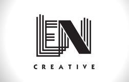 Progettazione dell'en Logo Letter With Black Lines Linea vettore Illus della lettera Immagini Stock