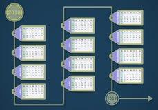 Progettazione dell'etichetta del calendario 2018 royalty illustrazione gratis