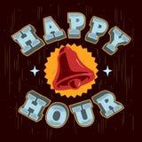 Progettazione dell'etichetta del segno del manifesto di happy hour con A che suona Bell Illus Immagine Stock Libera da Diritti