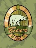 Progettazione dell'etichetta della birra, orso polare. Immagini Stock Libere da Diritti