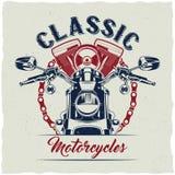 Progettazione dell'etichetta della maglietta del motociclo Fotografia Stock